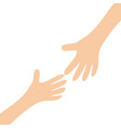 two hands arms reaching to each other helping vector image
