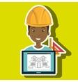 man laptop helmet tools vector image