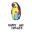 happy fathers day card dad and kid animals vector image