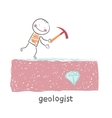 Geologist looking for a gem vector image vector image