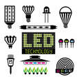 LED lighting icons set vector image