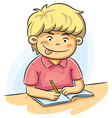 Boy Studying vector image