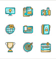 Business processes related icons Colored flat vector image
