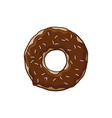 donut with chocolate icing a cartoon donut vector image