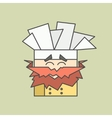 Flat icon of cute smiling chef from vector image