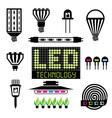LED lighting icons set vector image