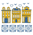 Cute collection of typical Portuguese houses vector image vector image
