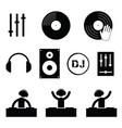 dj icon set in black color vector image