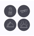 Hot food reception bell and clean room icons vector image