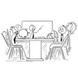 cartoon of group of mad business people on meeting vector image