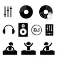 dj icon set in black color vector image
