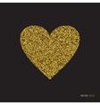 Gold glitter heart on white background vector image