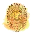 Lion in war bonnet hand drawn animal vector image