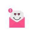 love emoji in pink letter notification vector image