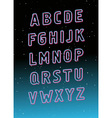 Neon tube glowing font alphabet vector image