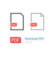 pdf file download icon set document symbol flat vector image