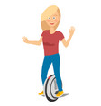 young girl riding unicycle electric scooter vector image