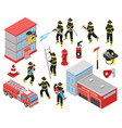 fire department isometric icons set vector image