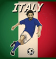 italy soccer player with flag background vector image
