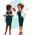 Air hostesses ready to fly vector image vector image