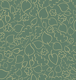 Seamless retro pattern with green autumn leaves vector image