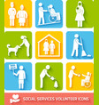 Social services icons set flat vector image