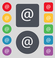 E-Mail icon sign A set of 12 colored buttons Flat vector image