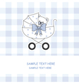 baby boy carriage with a teddy bear vector image vector image