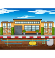 Water pipe running under the house vector image