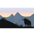 one bull silhouette of scenery vector image