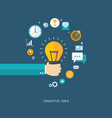 creative idea flat with hand bulb and icons vector image