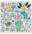 Hand drawn card with cartoon animals and text vector image