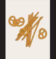 hand drawn snack pretzel vintage vector image