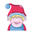 merry christmas elf with cute hat vector image
