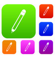pencil with eraser set color collection vector image