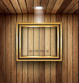 Gold frame on wood wall with spotlight vector image vector image