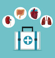 color background with first aid box with icons vector image