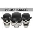Set of Human skulls with bowler hat vector image