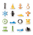 simple marine icons vector image vector image