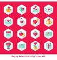 Valentine day icon set in flat vector image