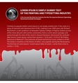 close up of red blood leaking on gray background vector image