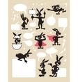 Rabbit Cartoon Silhouette Symbols vector image