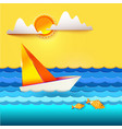 sailboat and golden fish vector image