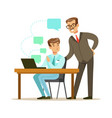 two businessmen working together in office vector image