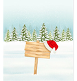 Winter nature background with a wooden sign and a vector image