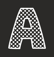 A alphabet letter with white polka dots on black vector image vector image
