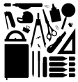Stationery tools silhouettes set vector image