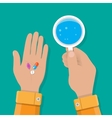 hand holds glass of water and pills vector image