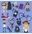 Hipster flat icons composition poster vector image