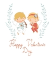 Valentines day greeting card with cupids vector image